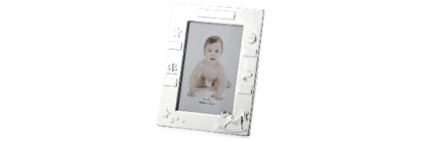 VARNISHED SILVER-PLATE BABY PHOTO FRAME 10X15 CM - H0730050