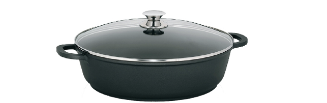 "ROUND SERVING PAN W. OVENPROOF GLASS LID ""KERROS"" D:36 CM - M0211555"