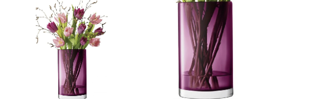 FLOWER COLOUR CYLINDER VASE / LANTERN HEATHER H:25 CM  - L05G130725923
