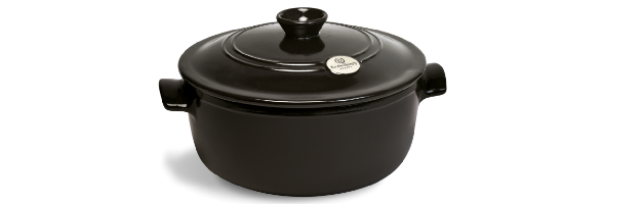 ROUND FLAME STEW POT, GREY-POIVRE, D:24 CM - E01794540