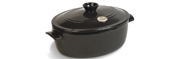 OVAL FLAME STEW POT, GREY-POIVRE, D:31 CM / 6 LT - E01794560