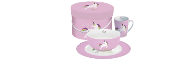 "BREAKFAST SET ""PINK UNICORN"" IN GIFT BOX - P02603252"