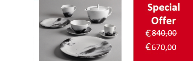 """FLUME"" 55 PIECES PORCELAIN DINNER SET FOR 12 BY SPAL - S02-FLUME"