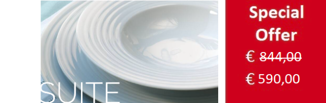 """WHITE SUITE"" 67 PIECES PORCELAIN DINNER SET FOR 12 BY SPAL - S02-WHT.SUITE"