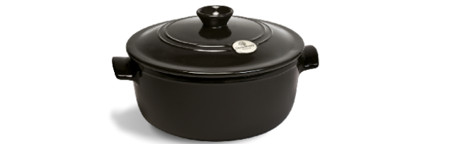 ROUND FLAME STEW POT, GREY-POIVRE, D:26 CM / 5.3 LT - E01794553