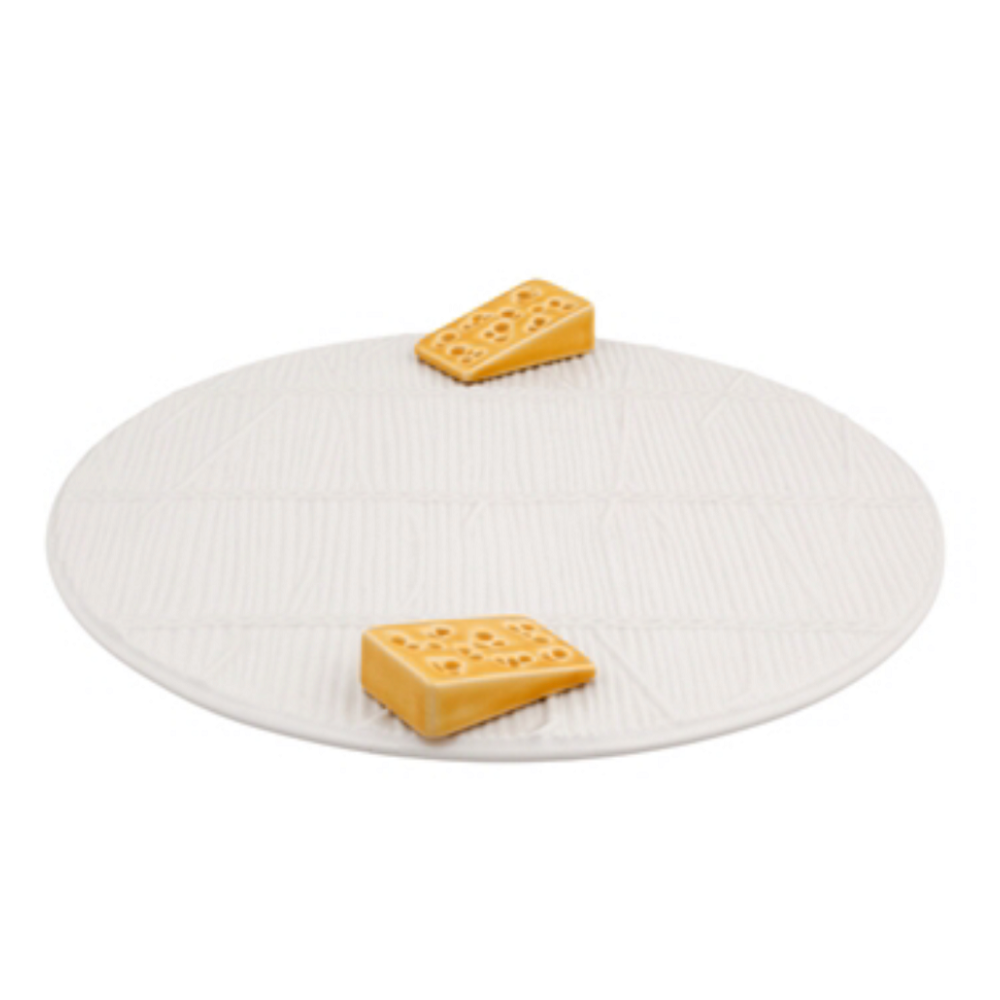 WHITE CHEESE TRAY WITH YELLOW CHEESE D:25 CM -  V0265004818