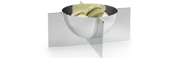 FLEURON BOWL IN HOLDER, SMALL S/S, MIRROR POLISHED D:18 CM - P06240020